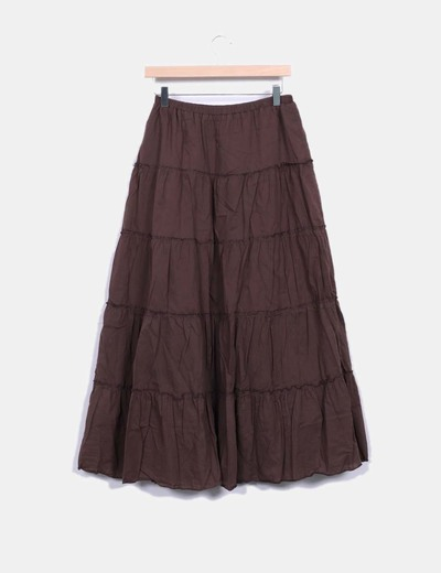 Falda maxi marron