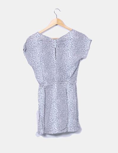Vestido mini gris estampado