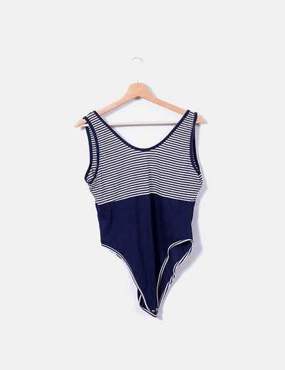 Body de rayas azul marino y blanco NoName