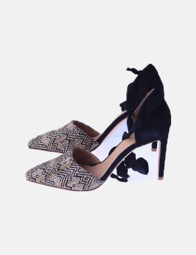 Stiletto lace up negro