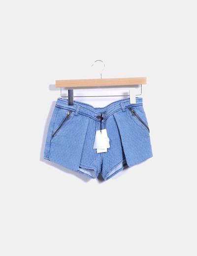 Shorts texturizado azul con cremalleras By Zoe