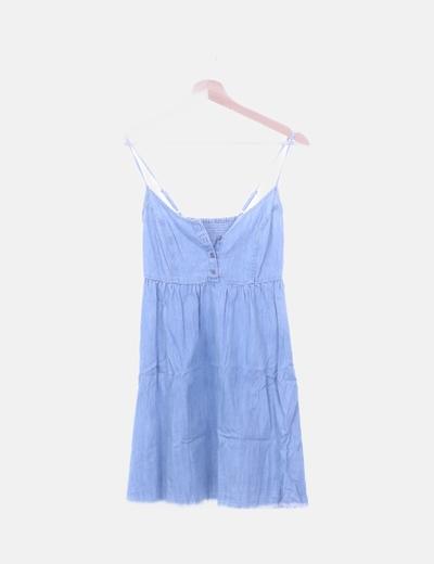 Vestido mini denim desflecado