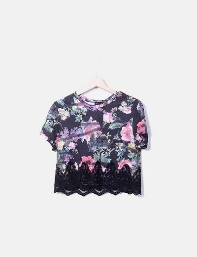 Camiseta negra corta print floral encaje