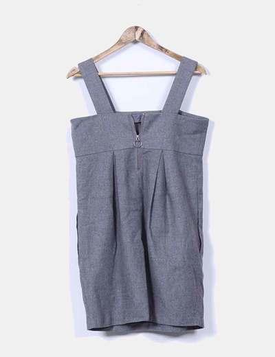 Vestido mini gris de tirantes con escote cuadrado