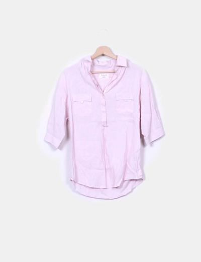 Camisa de rayas color rosa manga francesa Massimo Dutti