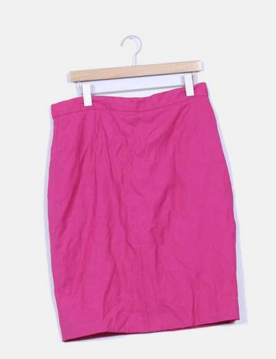 Falda rosa fucsia lisa Cortefiel