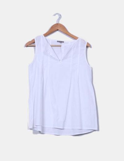 Camisa blanca escote caja sin mangas Uterqüe