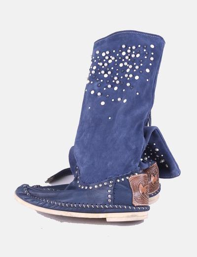 Botas scamosciato azul con perlas