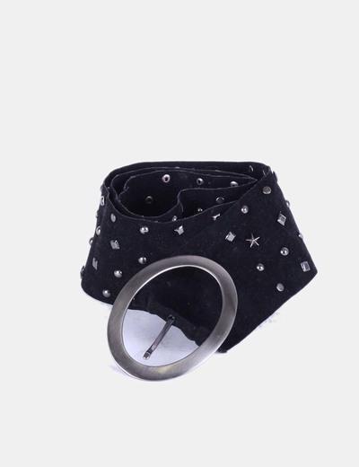 Cinturón ancho de antelina negra con tachas NoName
