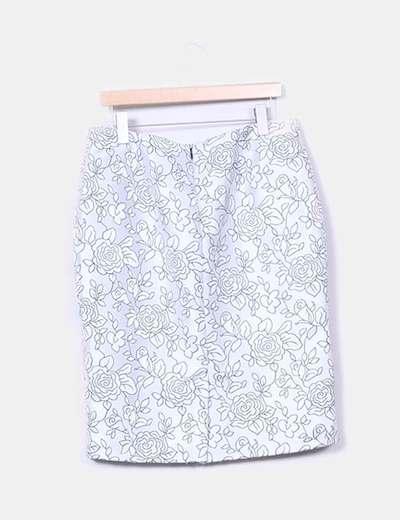 Falda gris con estampado floral