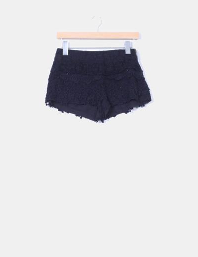 Shorts crochet negro Zara