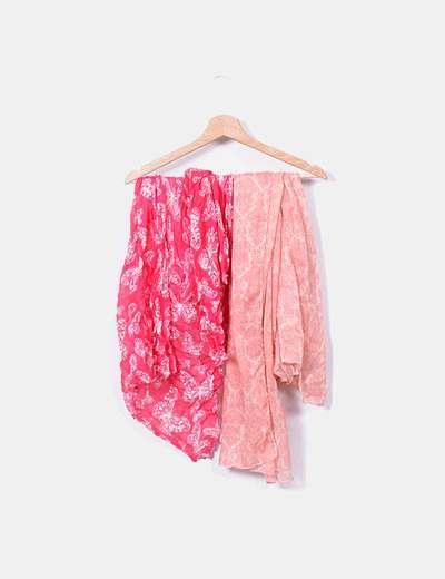 Pack 2 pañuelos rosas estampados NoName
