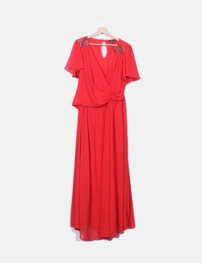 Vestido maxi gasa rojo