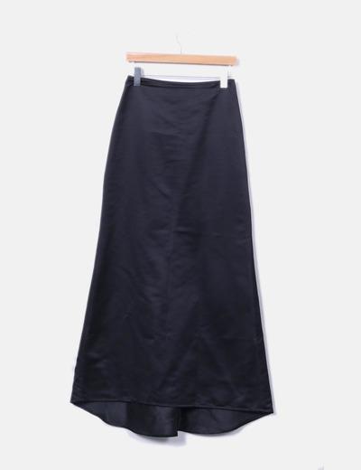 Maxi falda negra satén Adolfo Dominguez