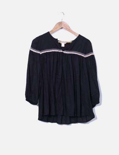 Blusa negra manga larga H&M