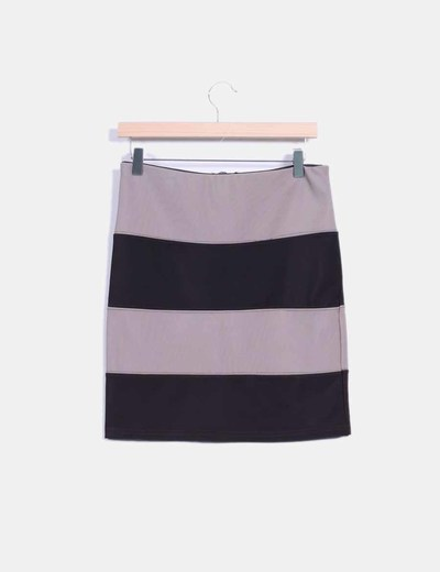 Mini falda bicolor ajustada