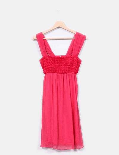 Vestido rosa fucsia con rosas Barbarella