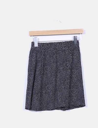 Mini falda negra topos blancos