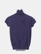 Top tricot azul marino cuello vuelto Zara