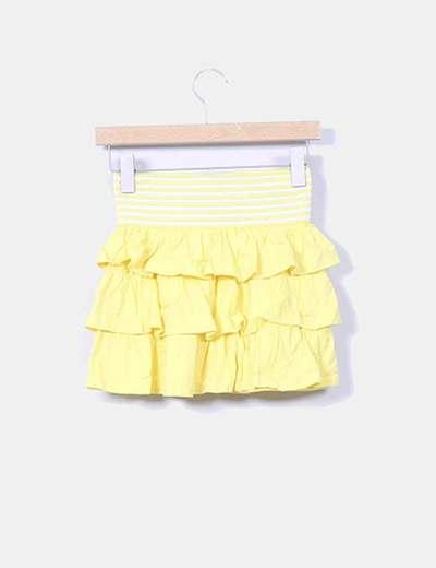 Mini falda amarilla con volantes