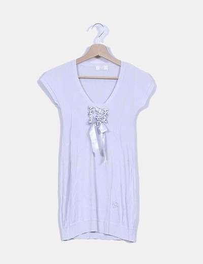 Vestido tricot gris detalle lazo en escote NoName