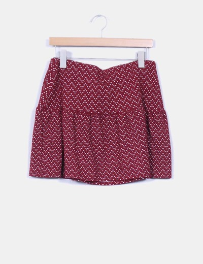 Falda midi granate estampada Pull & Bear