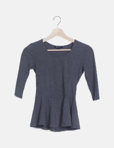 Camiseta peplum gris