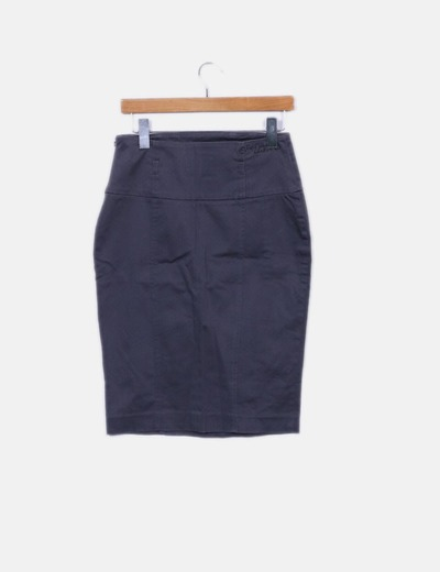 Falda midi gris estampado puntos