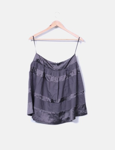 Falda mini saten negro