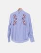 Camisa de rayas con bordados Stradivarius