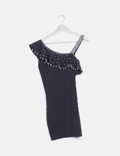 Vestido negro asimétrico detalle strass