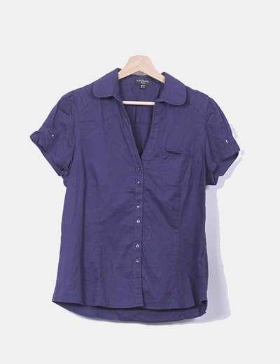 Camisa azul marino manga corta Cortefiel