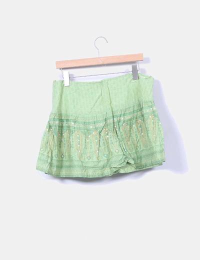 Mini falda verde estampada con lentejuelas