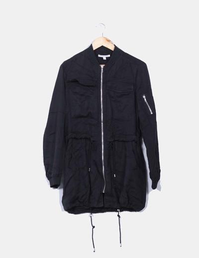 Zara chaqueta negra larga descuento micolet JPG 400x520 Chaqueta negra b64a8c6d168a