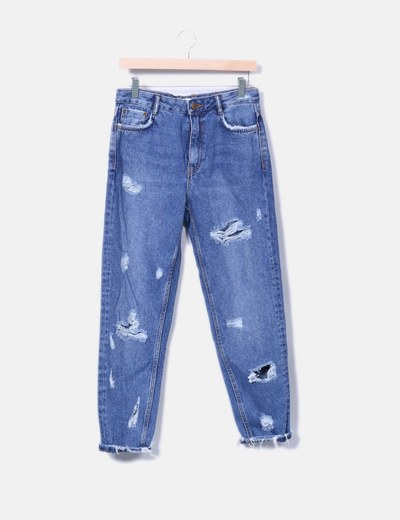 Jeans denim mon fit con letras Zara