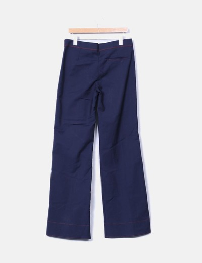Pantalon recto azul marino rayas rojas