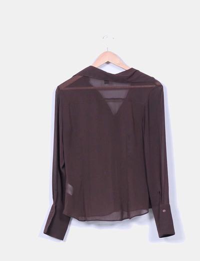 Blusa marron semitrasnparente