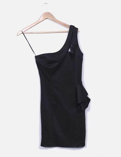 Vestido ceñido negro detalle volante Suiteblanco
