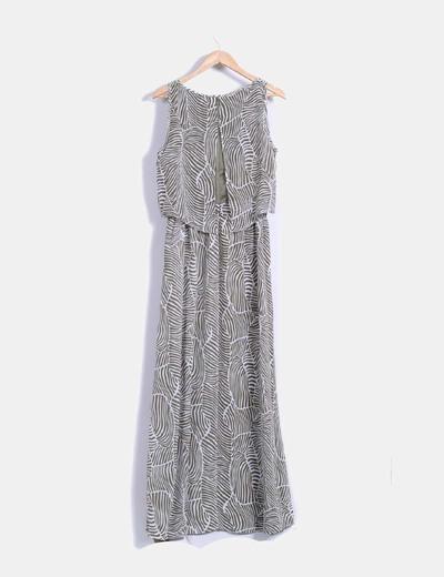 Vestido largo con estampado bicolor