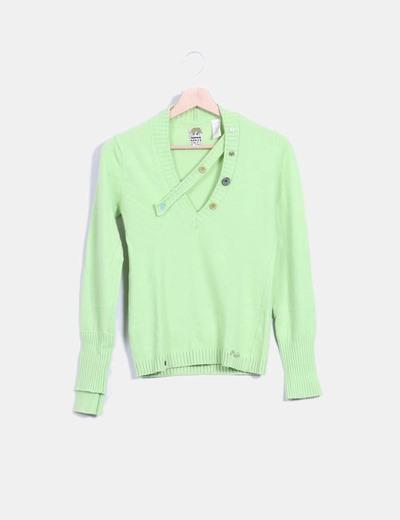 Jersey verde lima detalle botones Miss Sixty