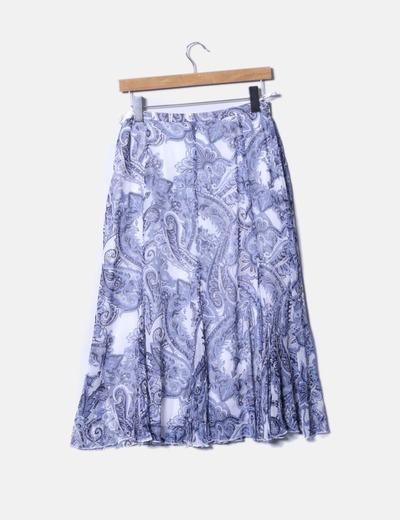 Falda maxi azul estampada