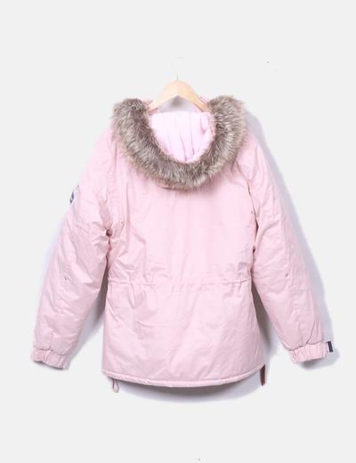 duradero en uso muy bonito venta más barata Chaqueta canguro rosa con gorro de pelo