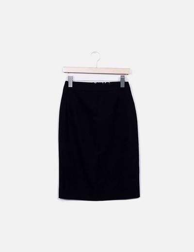 Falda midi negra Cordón de seda