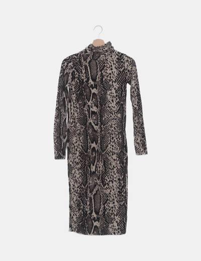 Vestido tricot animal print