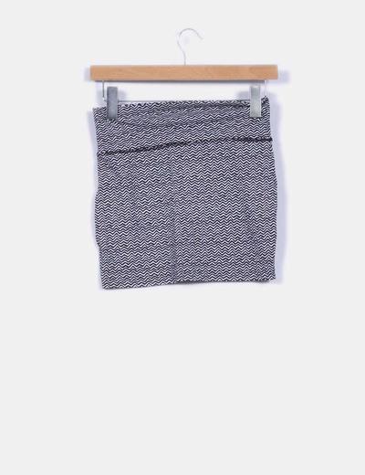 Mini falda ajustada estampado zig zag bicolor