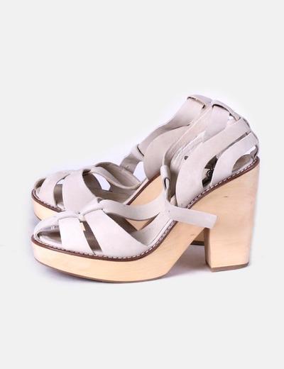 Sandalias de tacón beige Adolfo Dominguez