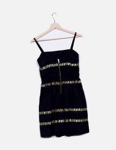 Vestido tirantes negro detalles dorados bordados