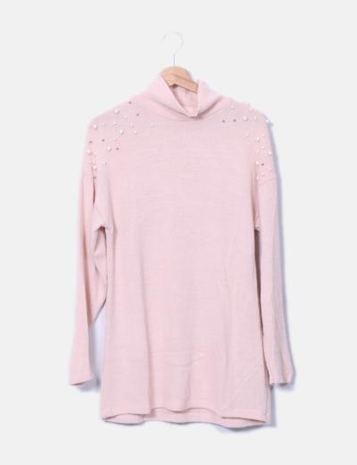Jersey punto rosa con perlas NoName