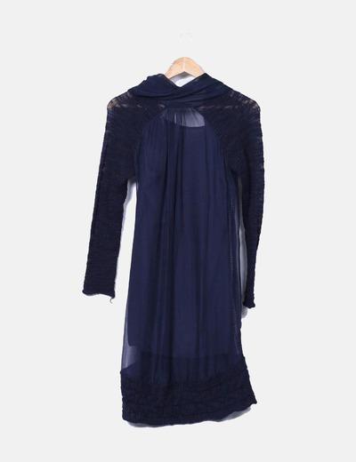 Vestido combinado azul marino