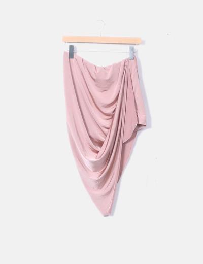 Falda asimétrica rosa